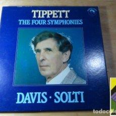Discos de vinilo: MICHAEL TIPPETT: THE FOUR SYMPHONIES (DAVIS-SOLTI) (BOX 3LP). Lote 262121625