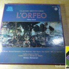 Discos de vinilo: CLAUDIO MONTEVERDI: L'ORFEO (CONCENTUS MUSICUS WIEN. NIKOLAUS HARNONCOURT) (BOX 3LP). Lote 262128885