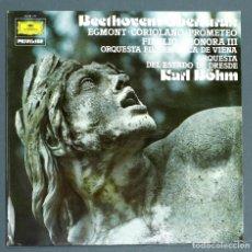 Discos de vinilo: LP DE BEETHOVEN: OBERTURAS: EGMONT, CORIOLANO, PROMETEO, FIDELIO, LEONORA III. KARL BÖHM, 1977.. Lote 262134505