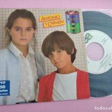 Discos de vinilo: ANTONIO Y CARMEN - SOPA DE AMOR / UN DÍA RARO - WEA 1982 (ROCIO DURCAL + JUNIOR). Lote 262135320