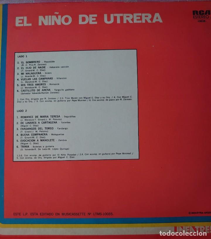 Discos de vinilo: El Niño de Utrera Lp sello RCA editado en Argentina año 1979... - Foto 2 - 262137135