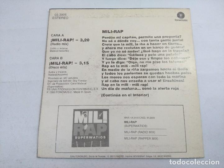Discos de vinilo: MILI RAP/SUPERWATIOS/SINGLE. - Foto 3 - 262202055