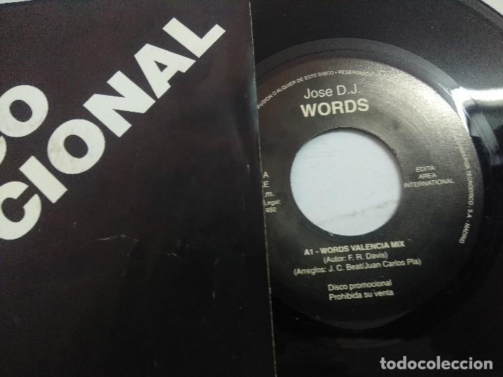 Discos de vinilo: JOSE D.J/WORDS VALENCIA MIX/SINGLE PROMOCIONAL. - Foto 2 - 262207125