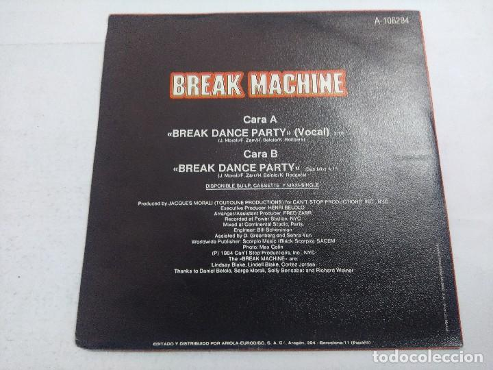 Discos de vinilo: BREAK MACHINE/BREAK DANCE PARTY/SINGLE. - Foto 3 - 262209125