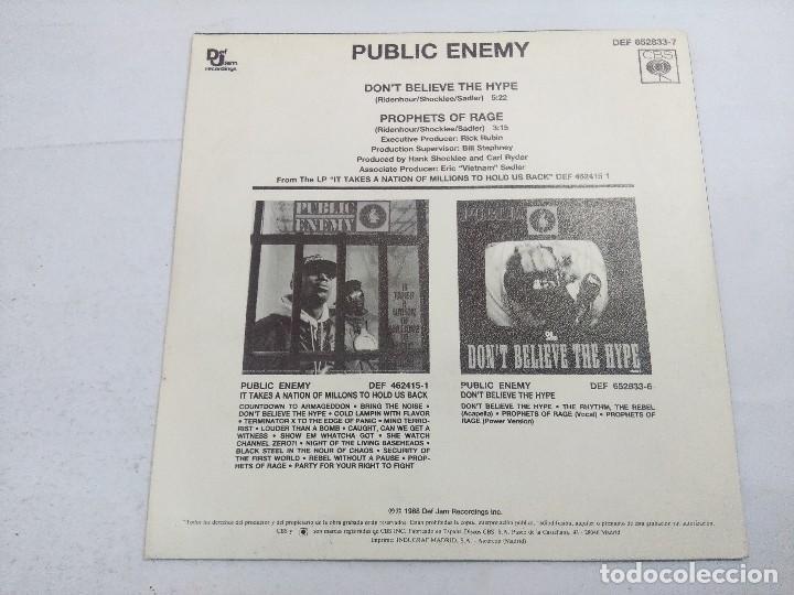 Discos de vinilo: PUBLIC ENEMY/DONT BELIEVE THE HYPE/SINGLE. - Foto 3 - 262209825