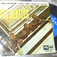 Disques de vinyle: THE BEATLES --I WANT TO HOLD YOUR HAND + 3 ---LABEL AZUL FUERTE -----VINILO / PORTADA VG+. Lote 241919640