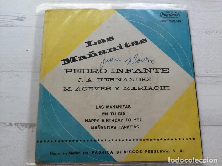 Discos de vinilo: Pedro Infante – Las Mañanitas EP MEXICO Vinilo VG/Portada VG++ - Foto 2 - 262281950