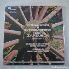 Discos de vinilo: PRELUDIOS E INTERMEDIOS DE ZARZUELAS / ENENRIQUE GARCÍA ASENSIO - PROGRAMA II - LP 1976. Lote 262296605