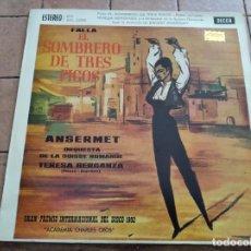 Discos de vinilo: FALLA / ANSERMET - EL SOMBRERO DE TRES PICOS - DECCA 1961 - PREMIO INTERNACIONAL DEL DISCO. Lote 262346450