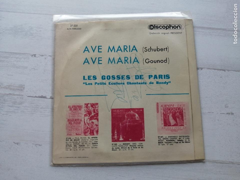 Discos de vinilo: Les Gosses de Paris – Ave Maria (Schubert y Gounod) Single SPAIN 1961 VG+/VG+ - Foto 2 - 262444995