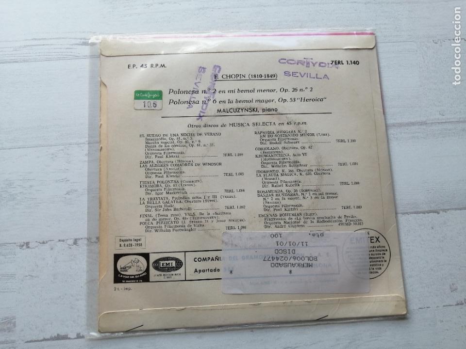 Discos de vinilo: Malcuzynski*, Chopin* – Polonesa N° 2 / Polonesa N° 6 Single SPAIN 1958 VG++/VG++ - Foto 2 - 262445600