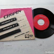 Discos de vinilo: MALCUZYNSKI*, CHOPIN* – POLONESA N° 2 / POLONESA N° 6 SINGLE SPAIN 1958 VG++/VG++. Lote 262445600