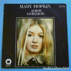 Discos de vinilo: MARY HOPKIN (SINGLE 1969) ADIOS - GOODBYE (TEMA DE THE BEATLES / LENNON CARTNEY) - GORRION - SPARROW. Lote 262452285