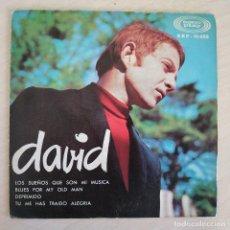 Discos de vinilo: DAVID - LOS SUEÑOS QUE SON MI MUSICA +3 RARO EP PROMO SONOPLAY DEL AÑO 1966 PORTADA ABIERTA. Lote 262456030