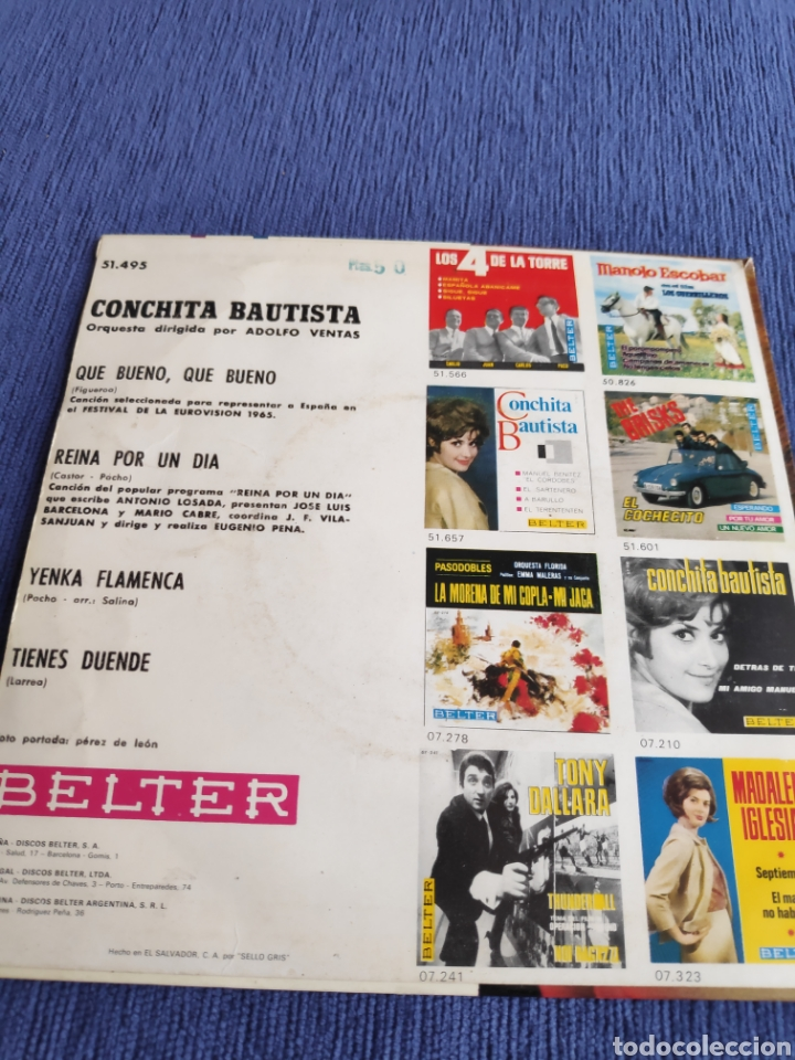Discos de vinilo: Single vinilo Eurovision ep - Conchita Bautista - Que bueno, que bueno - Foto 2 - 262554525