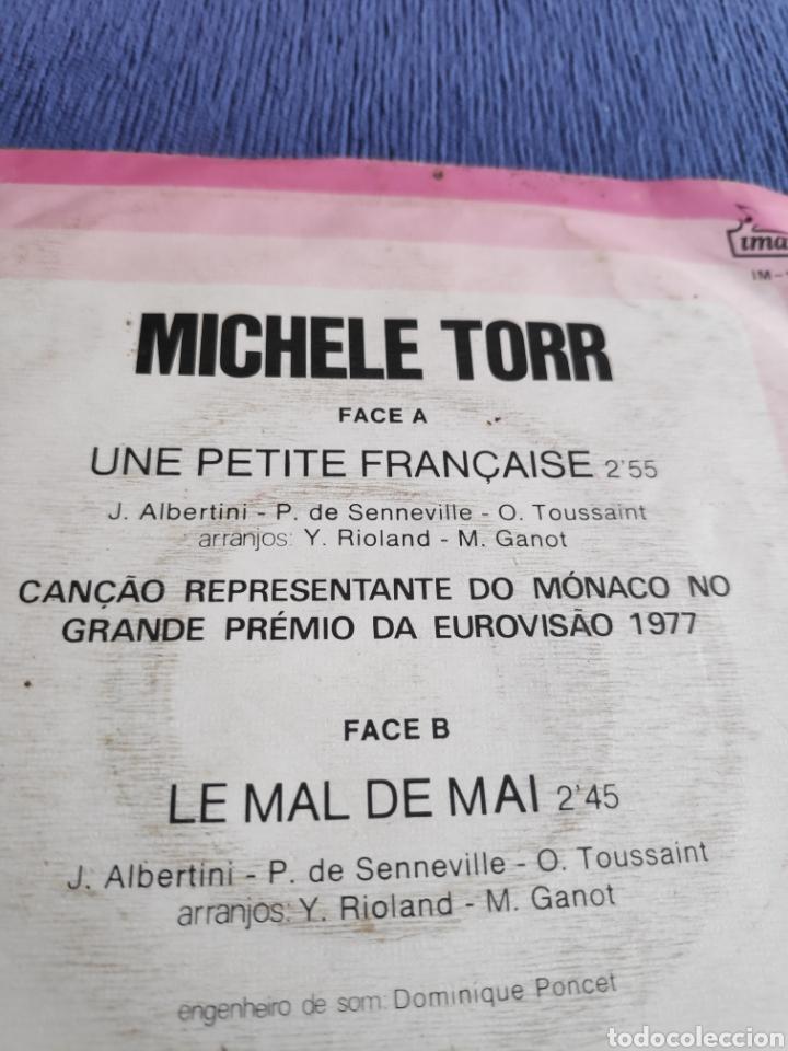 Discos de vinilo: Single vinilo Eurovision 1977 - Michele Torr - Une petite française - Edición Portugal - Foto 4 - 262561315