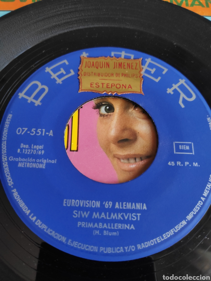 Discos de vinilo: Single vinilo Eurovision - Siw Malmkvist - Primaballerina - Foto 3 - 262562105