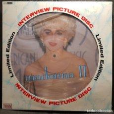 Discos de vinilo: MADONNA - INTERVIEW - MADONNA II - PICTURE DISC - LP - REINO UNIDO - EXCELENTE - NO USO CORREOS. Lote 262586905