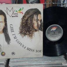 Discos de vinilo: MILLI VANILLI. GIRL I'M GONNA MISS YOU. ARIOLA 1989, REF. 612 647 - MAXI-SINGLE. Lote 262593280
