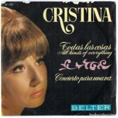 Discos de vinilo: VINILO. LP- SINGLE CRISTINA. TODAS LAS COSAS. CONCIERTO PARA UNA VOZ. BELTER. 1970. Lote 262762655