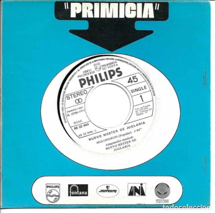 NUEVO MESTER DE JUGLARIA - CANTO DEL HONOR + MOLONDRON SINGLE PROMO 1972 SIN PORTADA (Música - Discos - Singles Vinilo - Country y Folk)