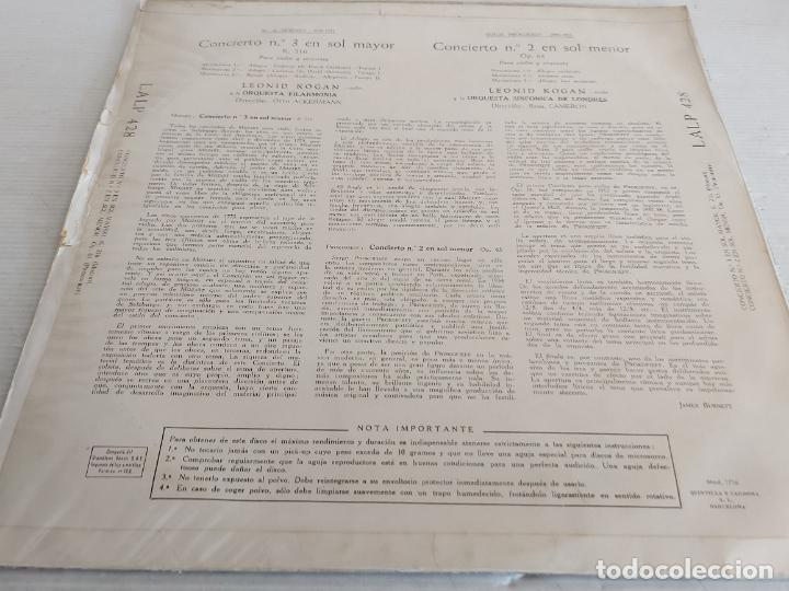 Discos de vinilo: LEONID KOGAN / PROKOFIEFF / MOZART / LA VOZ DE SU AMO-1959 / MBC. ***/*** - Foto 2 - 262947950