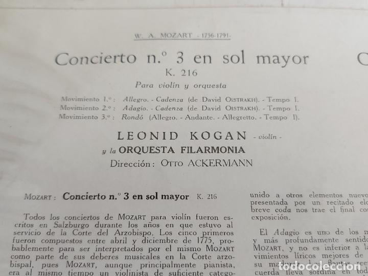 Discos de vinilo: LEONID KOGAN / PROKOFIEFF / MOZART / LA VOZ DE SU AMO-1959 / MBC. ***/*** - Foto 3 - 262947950