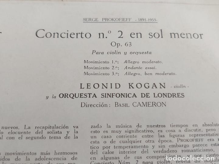 Discos de vinilo: LEONID KOGAN / PROKOFIEFF / MOZART / LA VOZ DE SU AMO-1959 / MBC. ***/*** - Foto 4 - 262947950