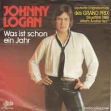 Discos de vinilo: 45 GIRI JOHNNY LOGAN WHAT IST SCHON EIN JAHR DES GRAND PRIX SIEGERTITTITELS 1980 GERMAN VERSION EPIC. Lote 262994220