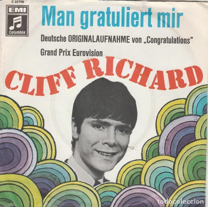 45 GIRI CLIFF RICHARD MAN GRATULIERT MIR /DUTSCHE VERSION OF FRAND PRIX EUROVIISON CONGATULATIONS E (Música - Discos - Singles Vinilo - Festival de Eurovisión)