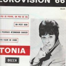 Discos de vinilo: 45 GIRI TONIA EUROVISION 66 UN PEU DE POIVRE UN PEU DE SEL +3 DECCA 450-205 HOLLAND. Lote 263011000