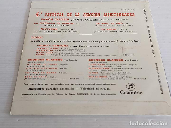 Discos de vinilo: RAMÓN CALDUCH / 4 FESTIVAL DE LA CANCIÓN MEDITERRÁNEA / EP-COLUMBIA-1962 / MBC. ***/*** - Foto 2 - 263019315