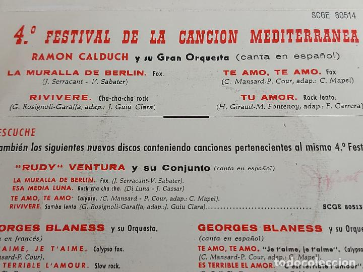 Discos de vinilo: RAMÓN CALDUCH / 4 FESTIVAL DE LA CANCIÓN MEDITERRÁNEA / EP-COLUMBIA-1962 / MBC. ***/*** - Foto 3 - 263019315