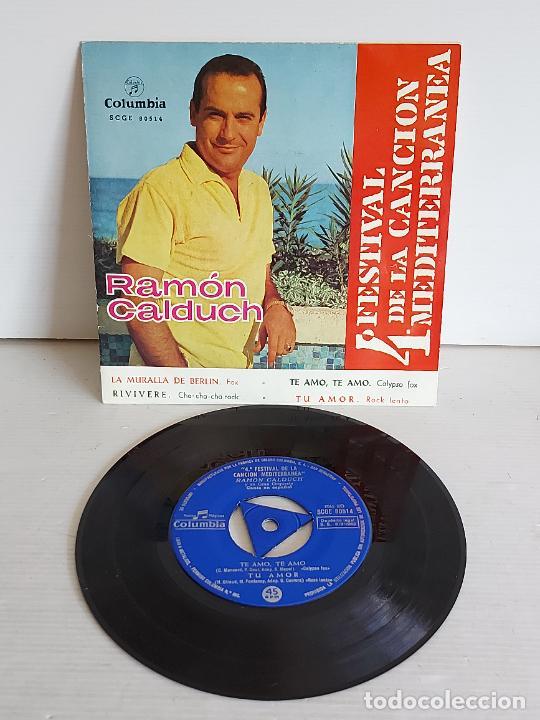 RAMÓN CALDUCH / 4 FESTIVAL DE LA CANCIÓN MEDITERRÁNEA / EP-COLUMBIA-1962 / MBC. ***/*** (Música - Discos de Vinilo - EPs - Otros Festivales de la Canción)