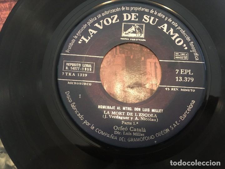 Discos de vinilo: disco single orfeo catala homenaje lluis millet nº 2 nº 6 - lemigrant -la mort de lescola -la bal - Foto 5 - 189282578