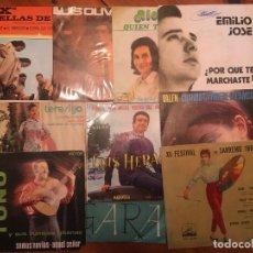 Discos de vinilo: DISCO LOTE 9 SINGLES TERESIYA -LUIS HERAS -TOÑO -VALEN -FESTIVAL SANREMO 1962 -RICHART -EMILIO JOSE. Lote 263065020