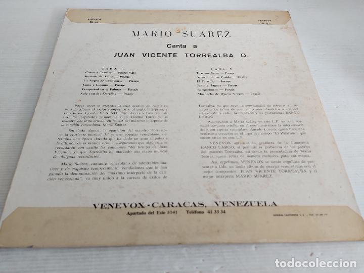 Discos de vinilo: MARIO SUAREZ CANTA A JUAN VICENTE TORREALBA / LP - VENE VOX / MBC. ***/*** - Foto 2 - 263070880