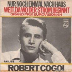 Discos de vinilo: 45 GIRI ROBERT GOGOI NUR NOCH EINMAL NACH HAUS GRAND PRIX EUROVIISON 1964 VG-VG BELGIUM STAMPA TEDE. Lote 263105290