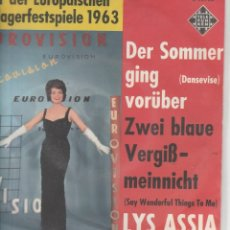 Discos de vinilo: 45 GIRI LYS ASSIA DER SOMMER GING VORUBER (DANSEVIVE) EUROVISION IN GERMAN VERSION TELEFUNKEN GERMA. Lote 263105480