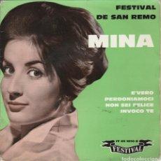 Discos de vinilo: 45 GIRI EP MINA AU FESTIVAL DE SANREMO 1960 LABEL FESTIVAL FRANCE COVER RING WEAR DELLE SCRITTE. Lote 263123435