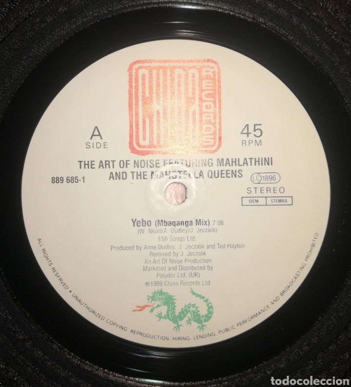 Discos de vinilo: The Art Of Noise Featuring Mahlathini And The Mahotella Queens Yebo - Foto 3 - 263135820