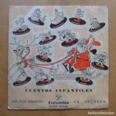 Discos de vinilo: SINGLE - CUENTOS INFANTILES - A: LOS DOS CONEJOS - B: LA LECHERA - COLUMBIA - 1962. Lote 263152710