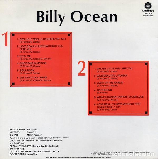 Discos de vinilo: BILLY OCEAN * LP VINILO * RED LIGHT * SPAIN 1988 - Foto 4 - 263162400