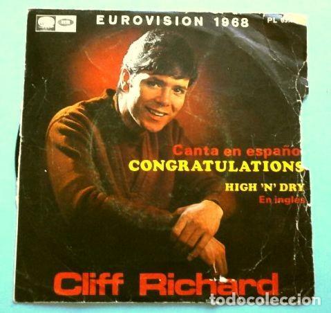 CLIFF RICHARD (SINGLE EUROVISION 1968) CONGRATULATIONS - HIGH 'N' DRY - REINO UNIDO 2º PUESTO (Música - Discos - Singles Vinilo - Festival de Eurovisión)