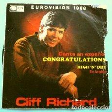 Discos de vinilo: CLIFF RICHARD (SINGLE EUROVISION 1968) CONGRATULATIONS - HIGH 'N' DRY - REINO UNIDO 2º PUESTO. Lote 263175360