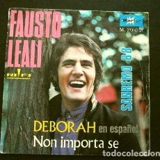 Discos de vinilo: FAUSTO LEALI (SINGLE 1968) XVIII FESTIVAL DE SAN REMO - SANREMO - DEBORAH EN ESPAÑOL. Lote 263181030