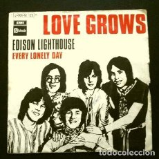 Discos de vinilo: LOVE GROWS (SINGLE 1970) (SOLO PORTADA / FUNDA SIN DISCO) EDISON LIGHTHOUSE (TAMBIEN SE REGALA). Lote 263189820