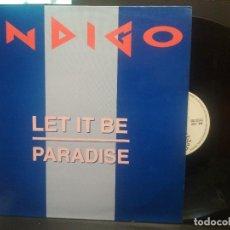 Discos de vinilo: INDIGO, LET IT BE / PARADISE - 1MAXI BLANCO Y NEGRO SPAIN 1992 PEPETO. Lote 263191210