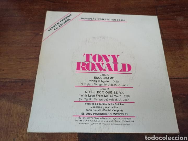 Discos de vinilo: ESCUCHAME (PLAY IT AGAIN). TONY RONALD. MOVIE PLAY. MADRID, 1975. SN-20984 - Foto 2 - 263272710