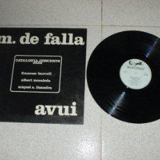 Discos de vinilo: CATALONIA CONCERTS JAZZ - M.DE FALLA - AVUI - SPAIN - EURODISC - REF 28 106 1 - GATEFOLD - L -. Lote 263557305